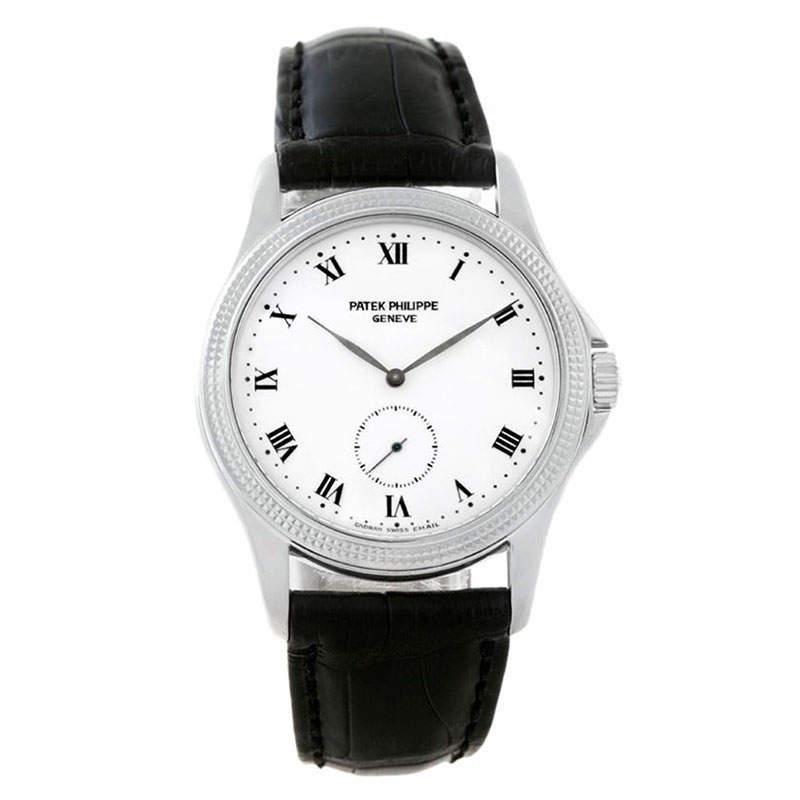 Patek Philippe White 18K White Gold Calatrava Women's Wristwatch 35MM