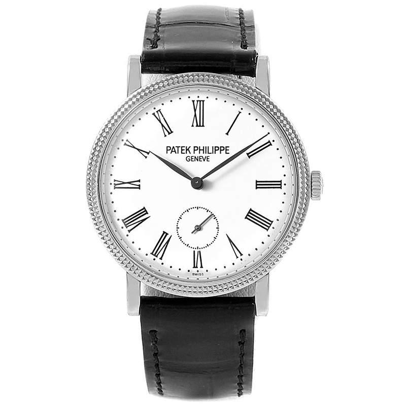 Patek Philippe Off-White 18K White Gold Calatrava Women's Wristwatch 31MM
