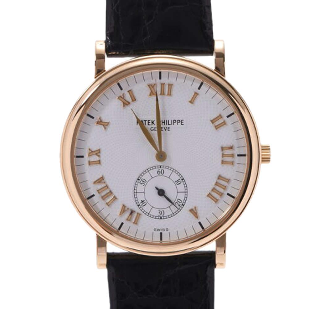 Patek Philippe Silver 18K Yellow Gold Calatrava 5022J Women's Wristwatch 33 MM
