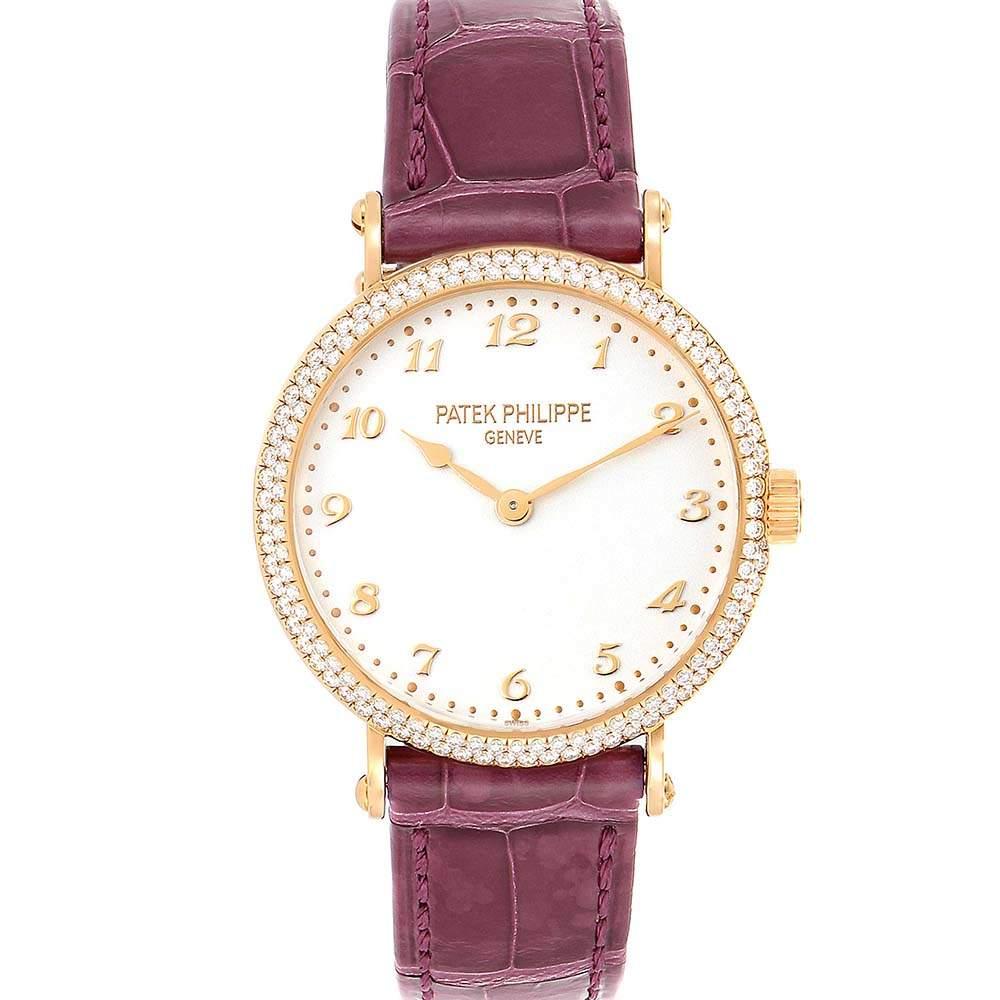 Patek Philippe Silver Diamonds 18K Rose Gold Calatrava 7200 Women's Wristwatch 33 MM