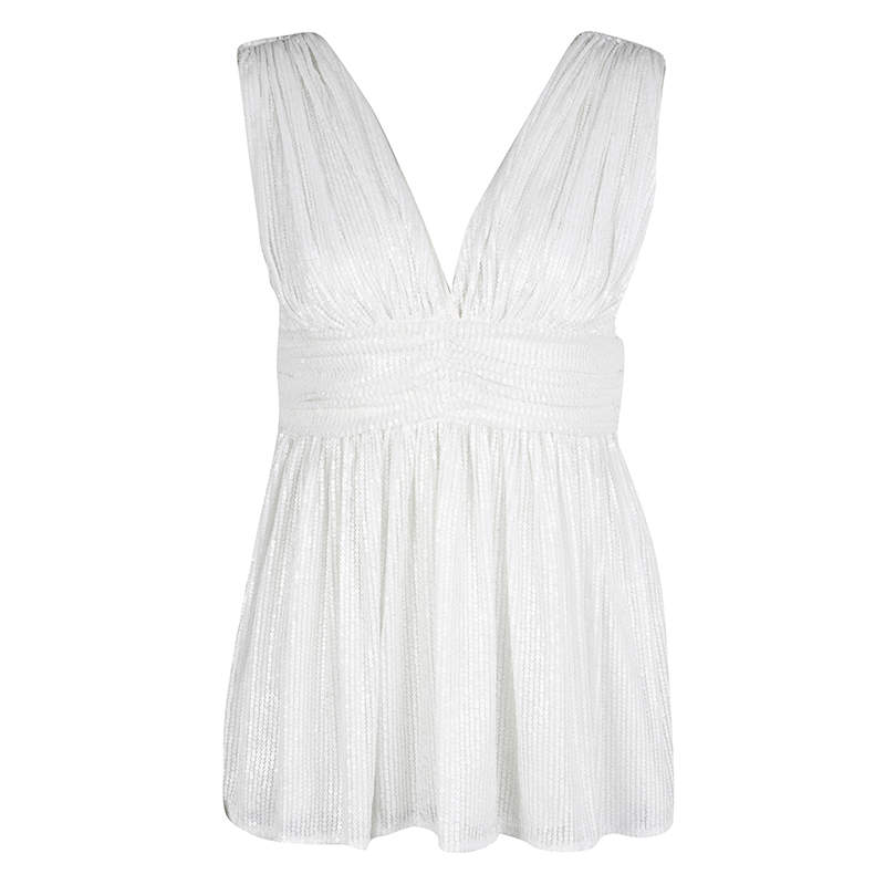 Paul and Joe White Sequin Embellished Ruched Sleeveless Top S