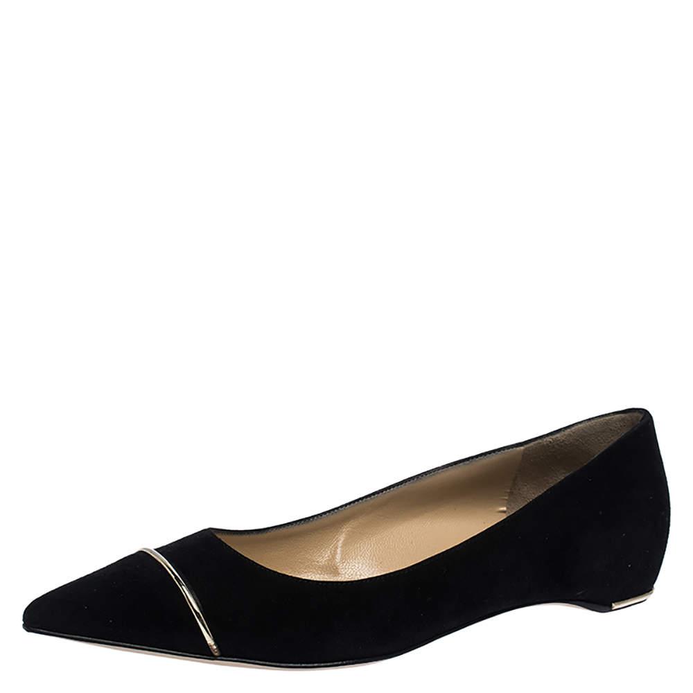 Paul Andrew Black Suede Ballet Flats Size 37.5