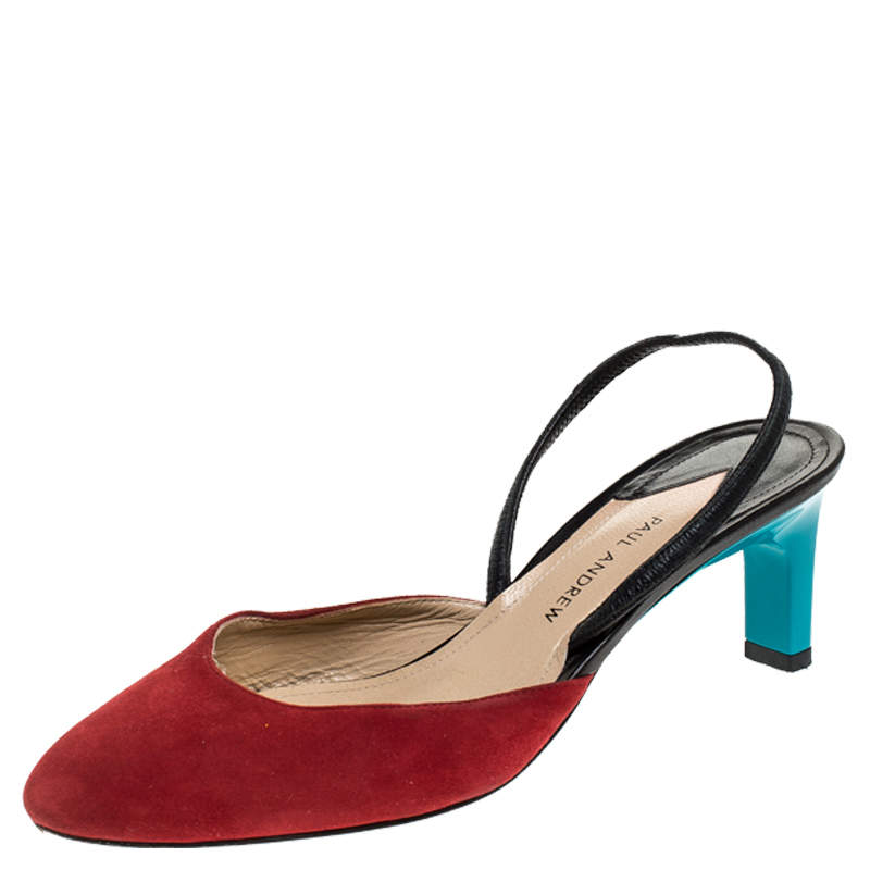 Paul Andrew Multicolor Suede and Leather Celestine Slingback Sandals Size 37