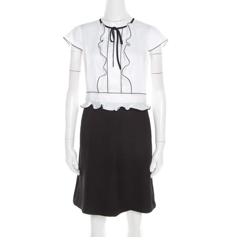 Paule Ka  Monochrome Colorblock Cotton Ruffle Trim Cap Sleeve Dress M