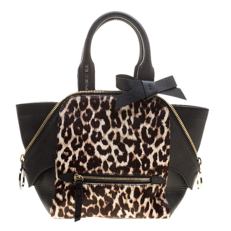 Paule Ka Black/Beige Leather and Leopard Print Calfhair Tote