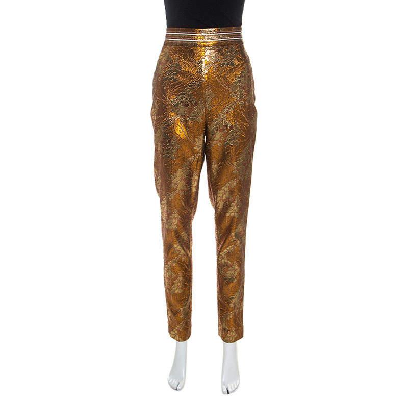 Peter Pilotto Metallic Floral Stretch Jacquard Slim Fit Trousers M