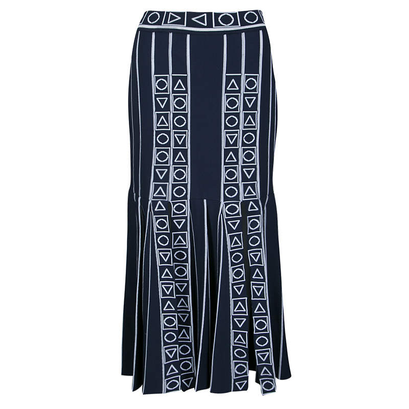 Peter Pilotto Navy Blue and White Index Knit Slit Detail Midi Skirt M