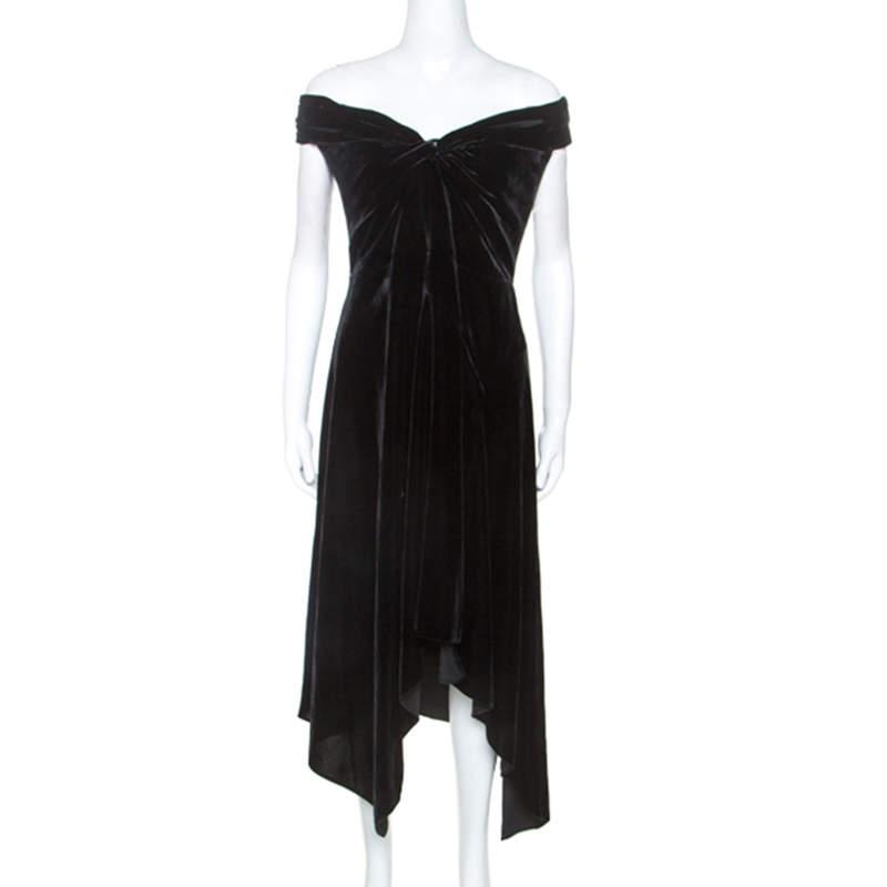 Peter Pilotto Black Velvet Off-Shoulder Cocktail Dress L