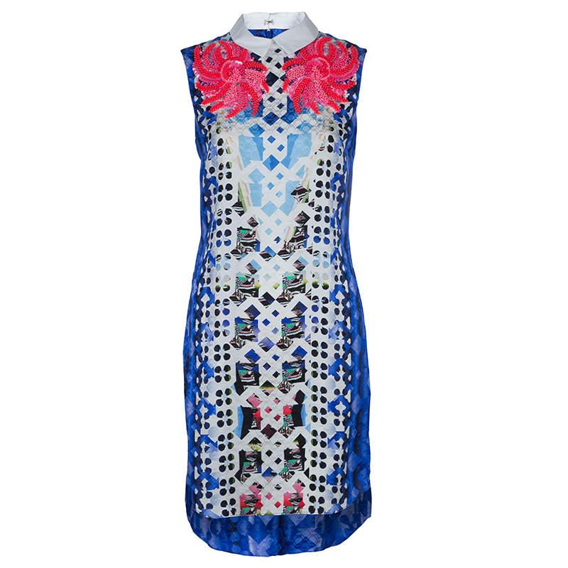 Peter Pilotto Blue Digital Print Neon Sequin Embellished Sleeveless Dress S