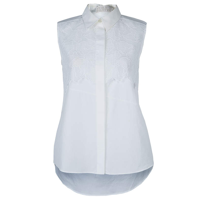 Peter Pilotto White Lace Detail Sleeveless Eero Blouse S