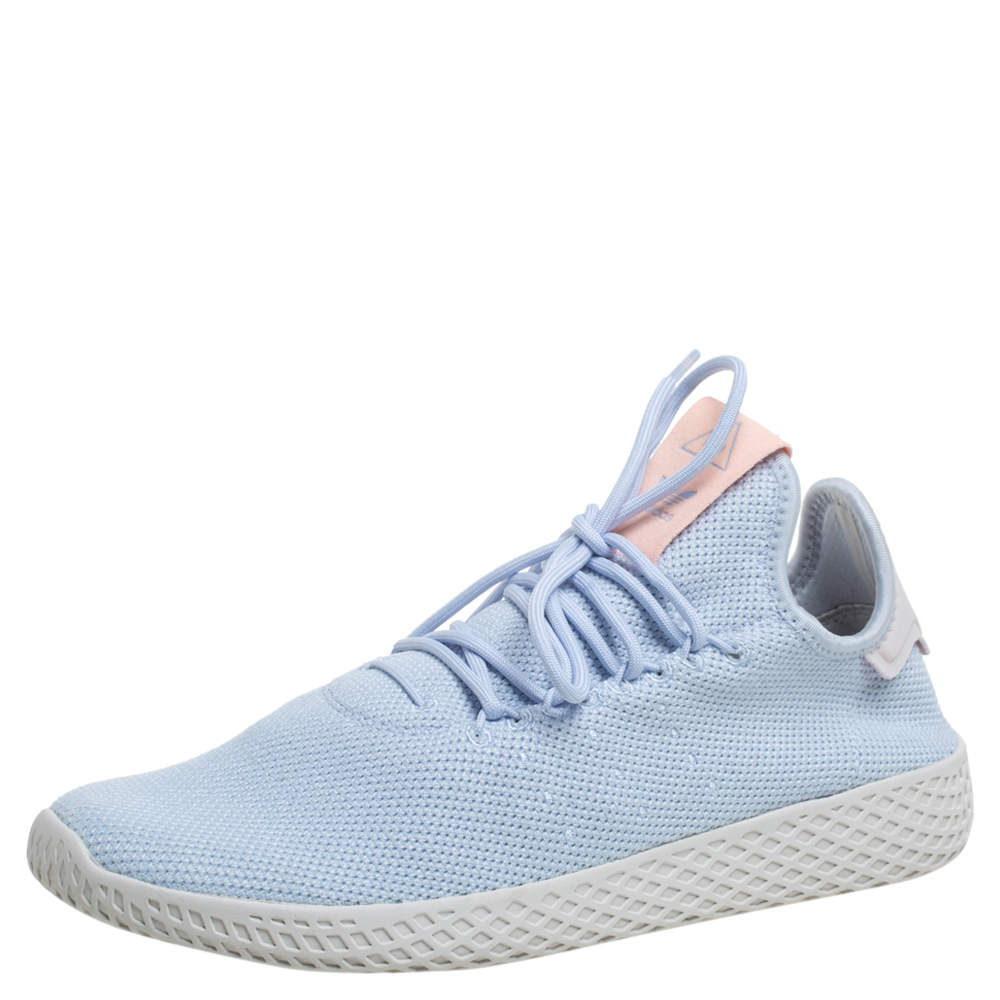 Pharrell Williams Blue/Orange Knit Fabric Tennis HU Slow Top Sneakers Size 41.5