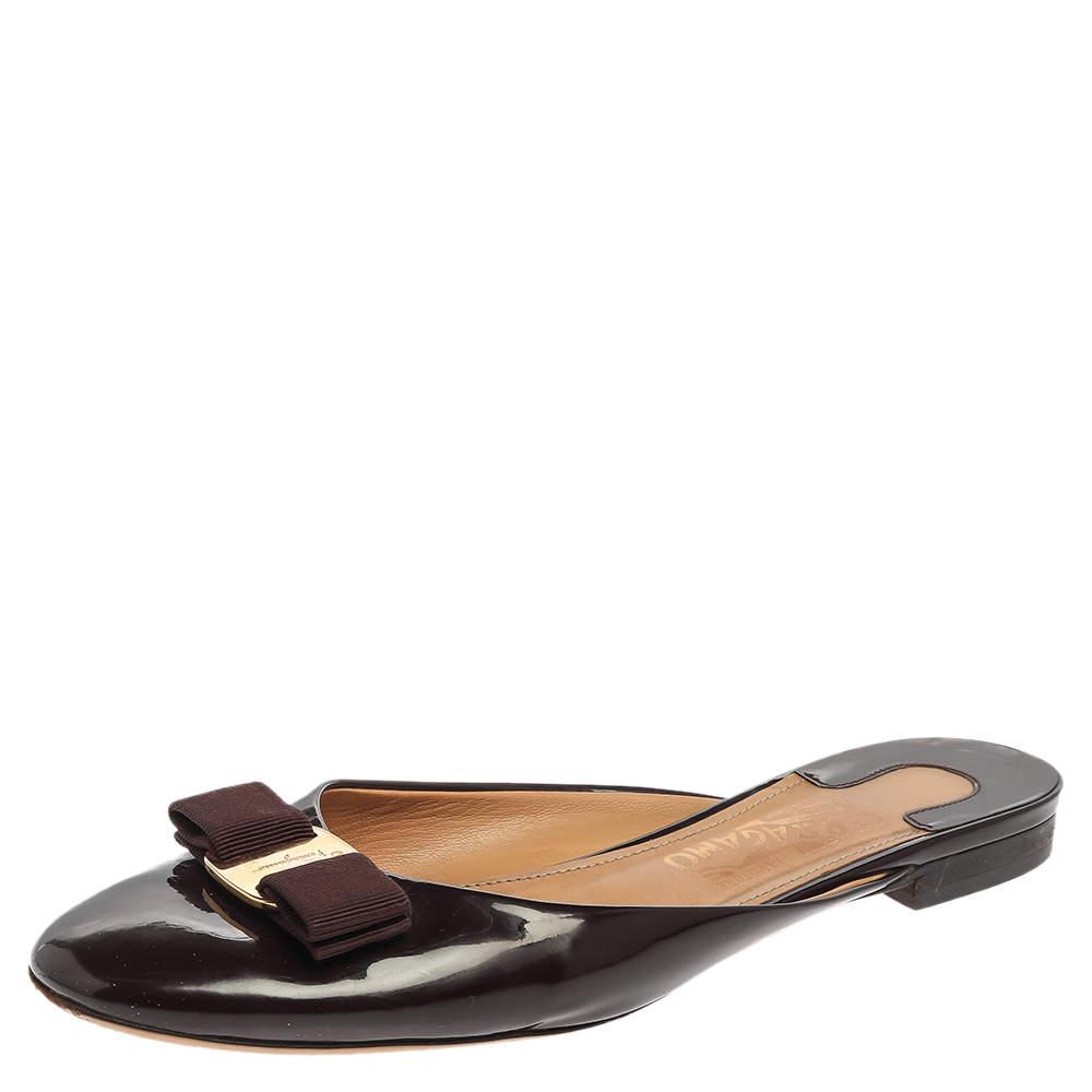 Salvatore Ferragamo Burgundy Patent Leather Emile Mules Size 39