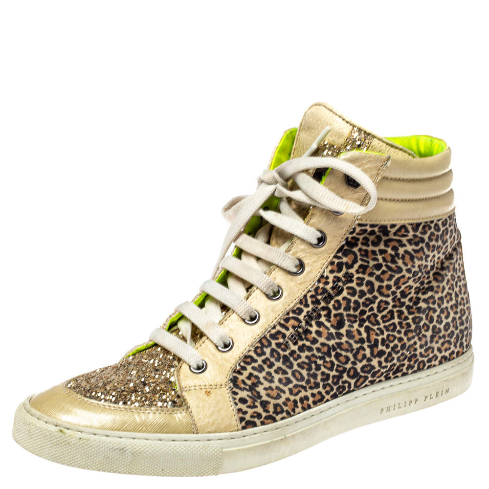 Philipp Plein Animal Print Suede And Python Trim Jungle Glitter High Top Sneakers Size 40.5