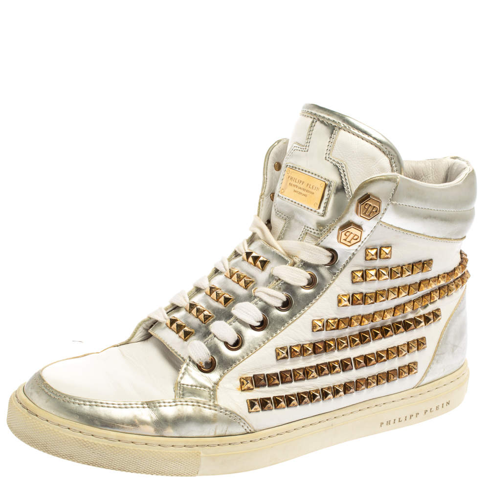 Philipp Plein White Leather Studded High Top Sneakers Size 39.5
