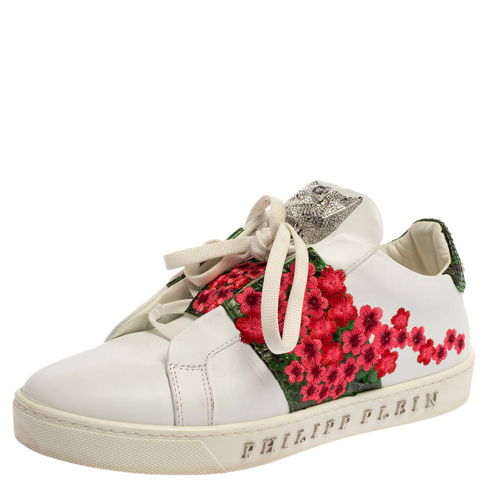 Philipp Plein White Floral Embroidered Leather And Python Trim Embellished Low Top Sneakers Size 39