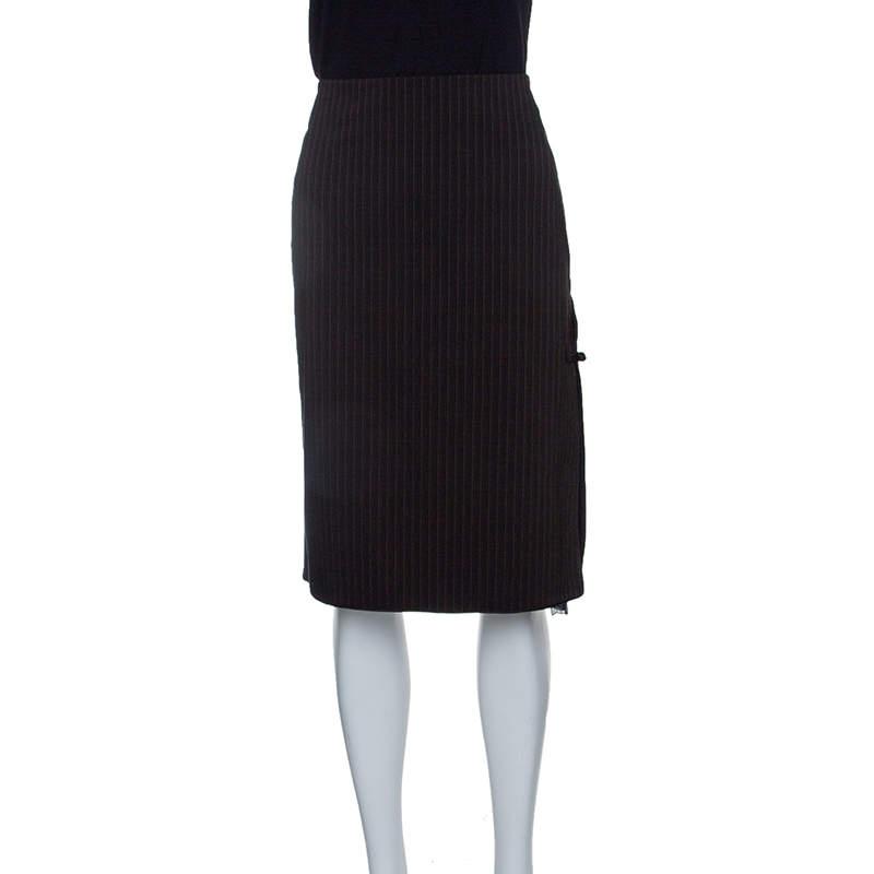 Philosophy di Alberta Ferretti Brown Striped Flocked Chiffon Insert Pencil Skirt M