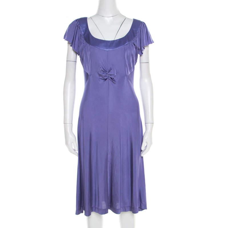 Philosophy di Alberta Ferretti Purple Jersey Ruched Bodice Detail Dress L
