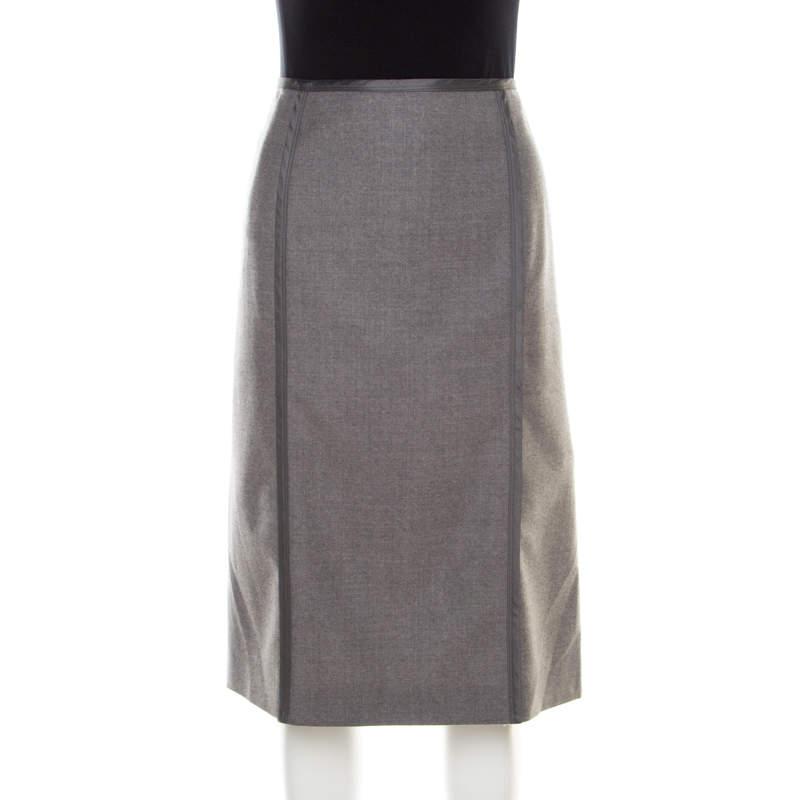 Philosophy di Alberta Ferretti Grey Wool Paneled Pencil Skirt L