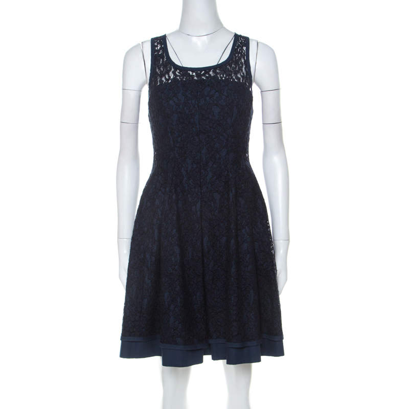 Philosophy di Alberta Ferretti Navy Blue Cotton Blend Sleeveless Lace Dress S