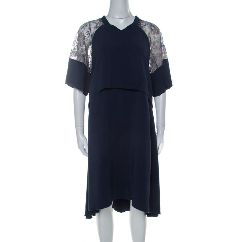 Philosophy Navy Blue Lace Detail Layered Shift Dress M