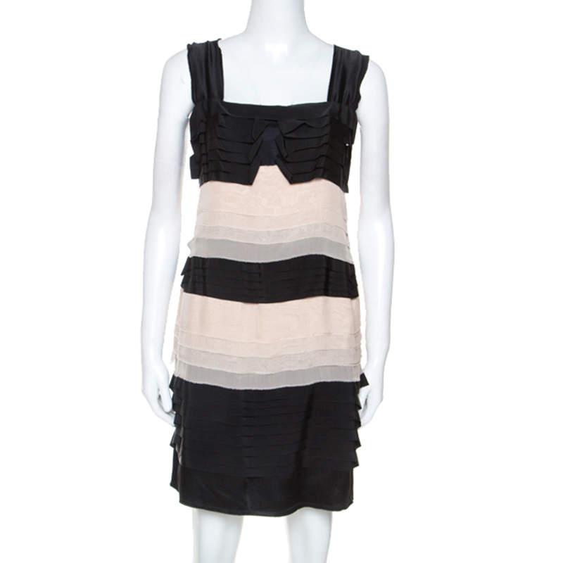 Philosophy di Alberta Ferretti Black and Cream Chiffon Tiered Dress L