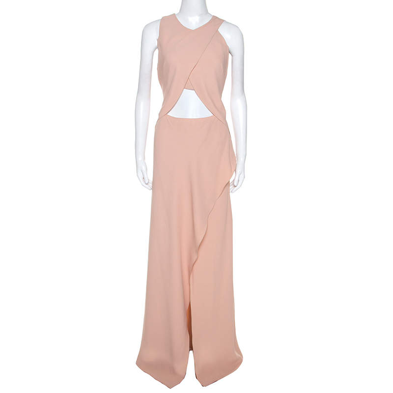 Philosophy di Alberta Ferretti Salmon Pink Crepe Overlap Detail Maxi Dress M