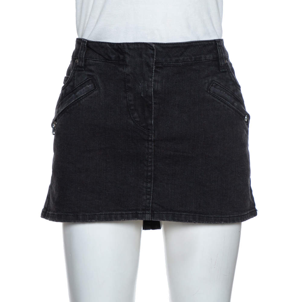 Pierre Balmain Dark Grey Washed Denim Mini Skirt M