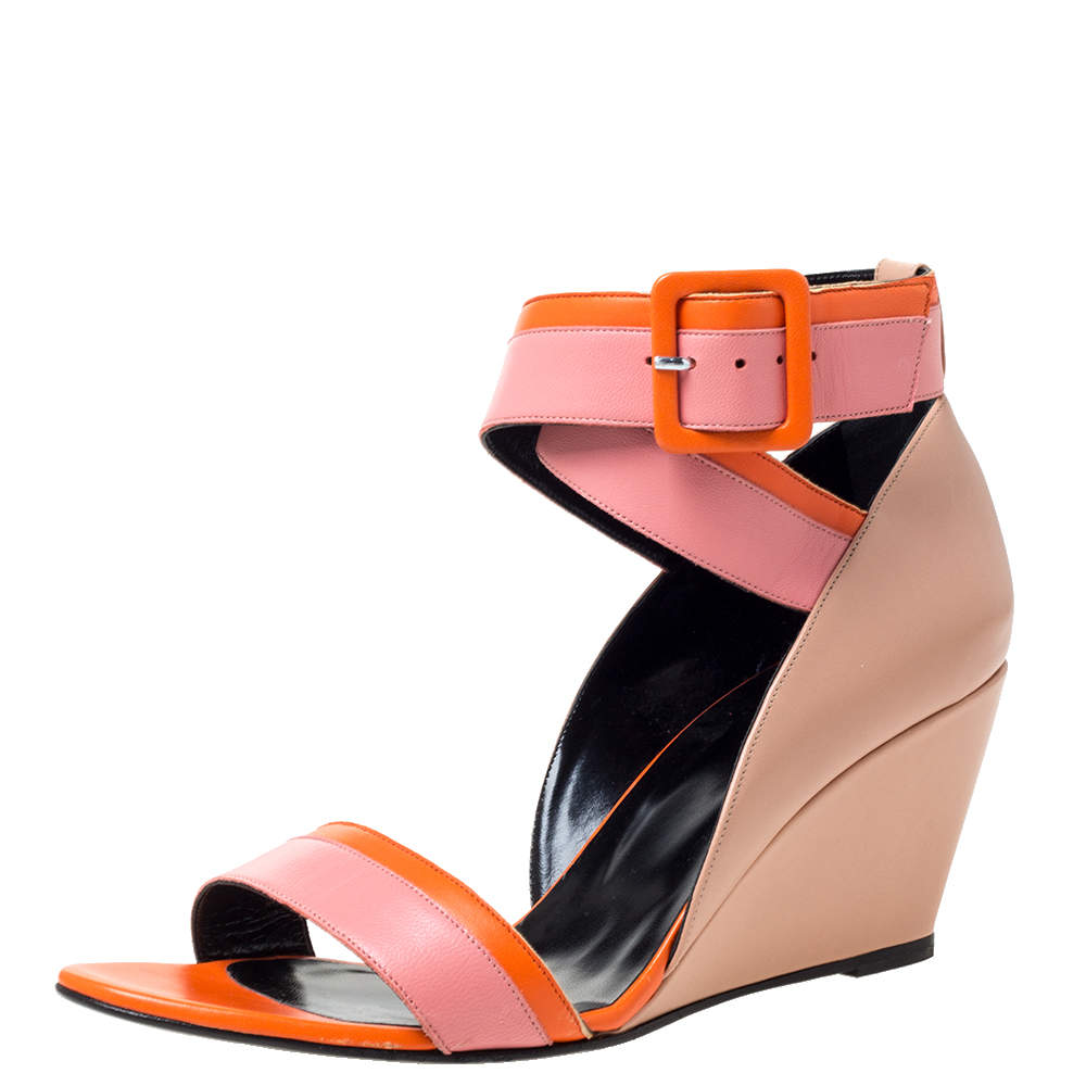 Pierre Hardy Tri Color Leather Ankle Strap Wedge Sandals Size 40