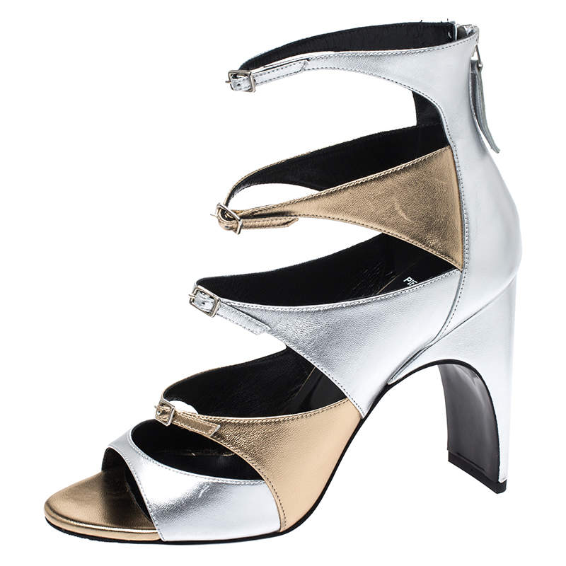 Pierre Hardy Metallic Silver/Gold Cut Out Leather Lula Sandals Size 40