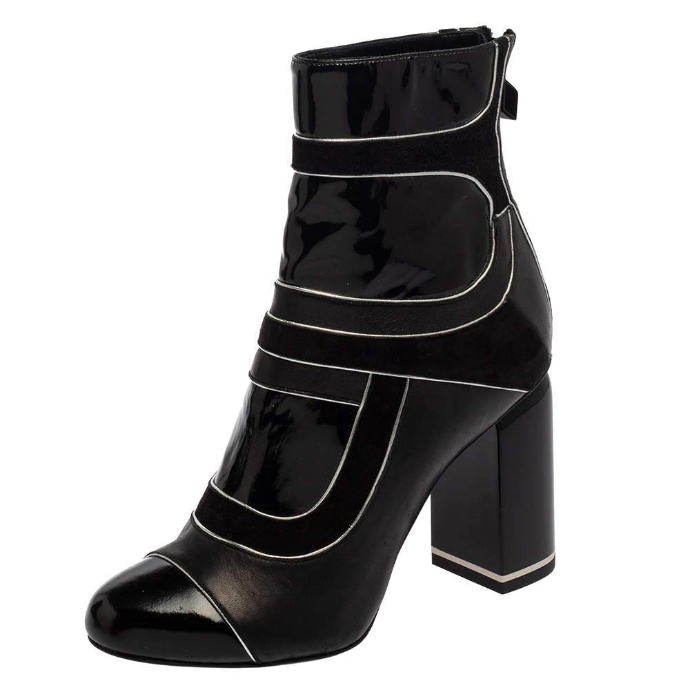 Pierre Hardy Black Leather And Suede Heeled Zipper Detail Boots Size 37