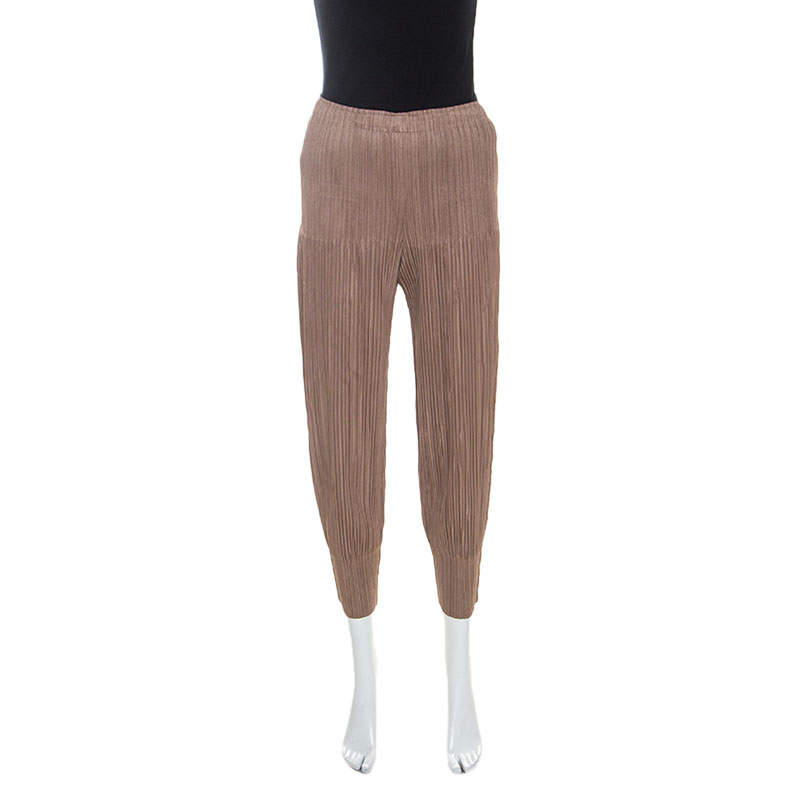 Pleats Please By Issey Miyake Brown Pleated Pants S