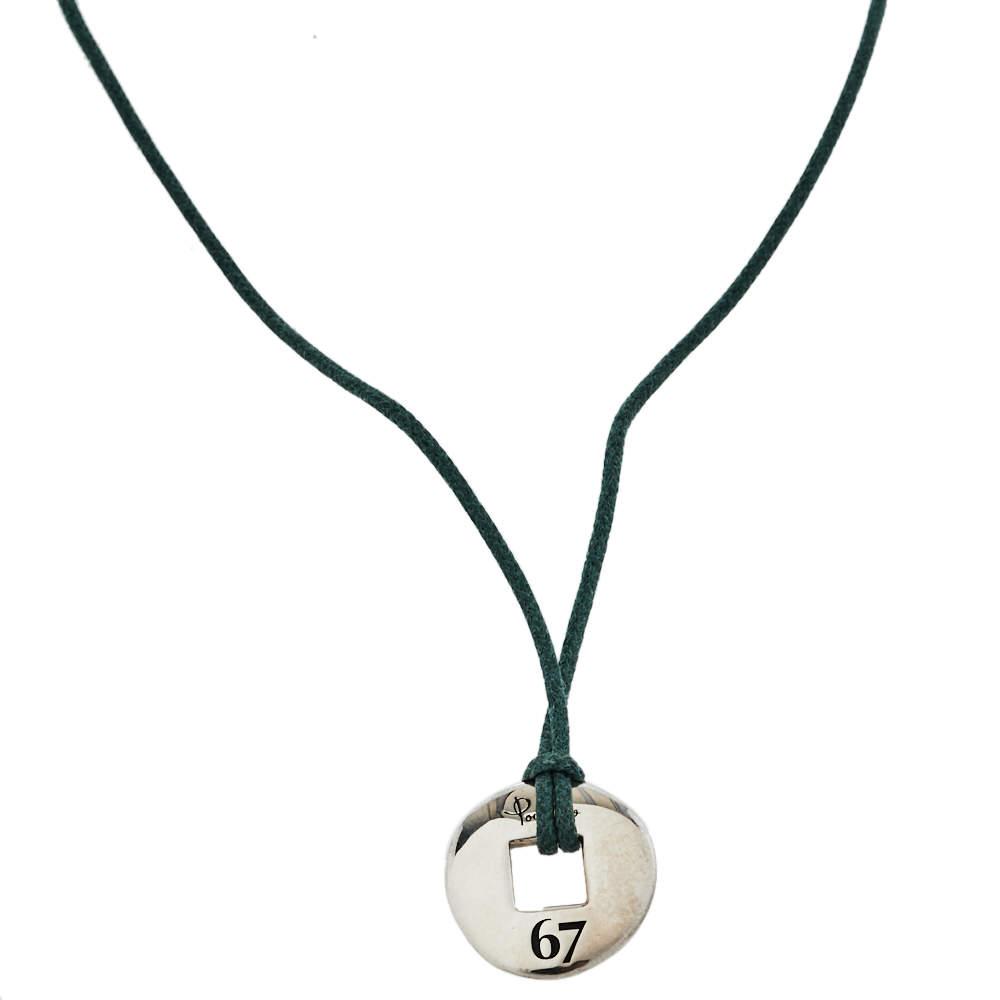Pomellato 67 Sterling Silver Pendant Cord Necklace