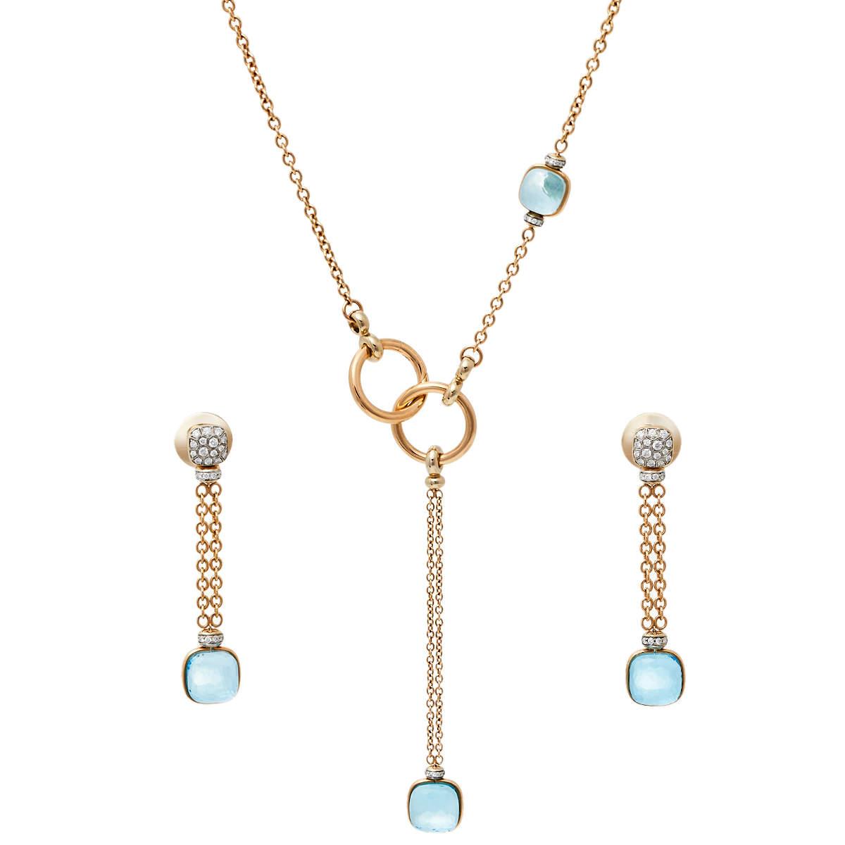 Pomellato Nudo Blue Topaz Diamond 18K Rose Gold Sautoir Necklace and Long Earrings Set