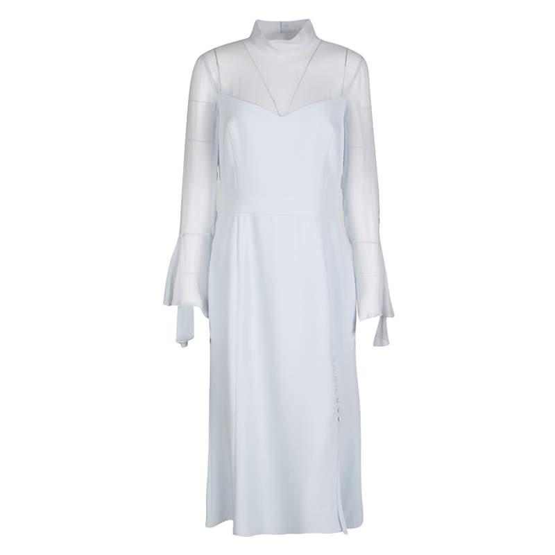 Prabal Gurung Powder Blue Sheer Sleeve Side Button Detail Dress M