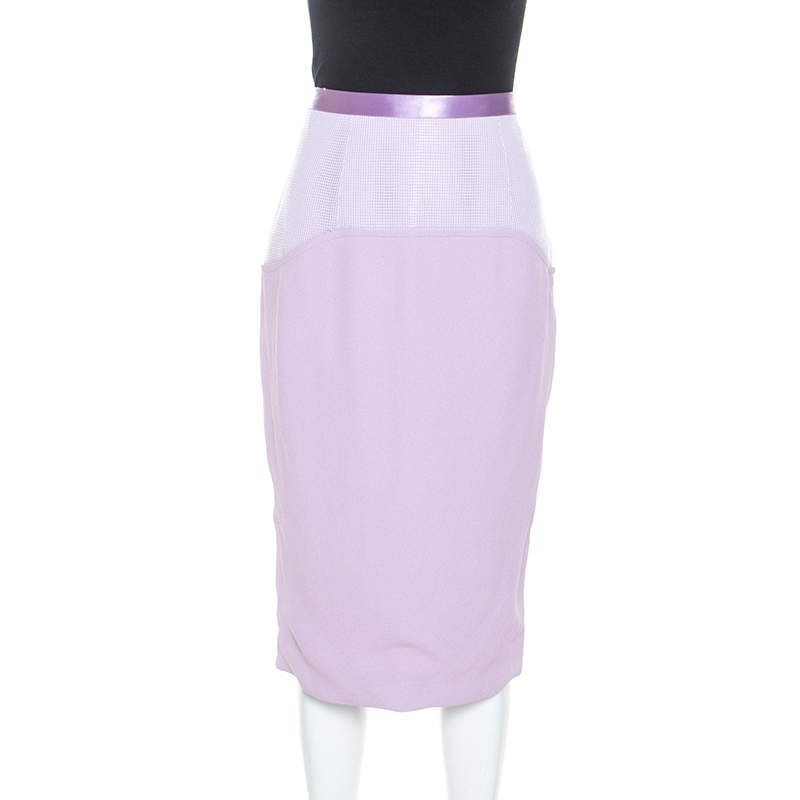 Prabal Gurung Lilac Crepe Mesh Detail Pencil Skirt M