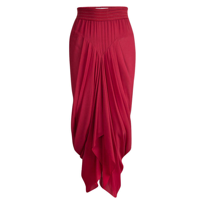 Prabal Gurung Red Silk Pleat Detail Draped Maxi Skirt S