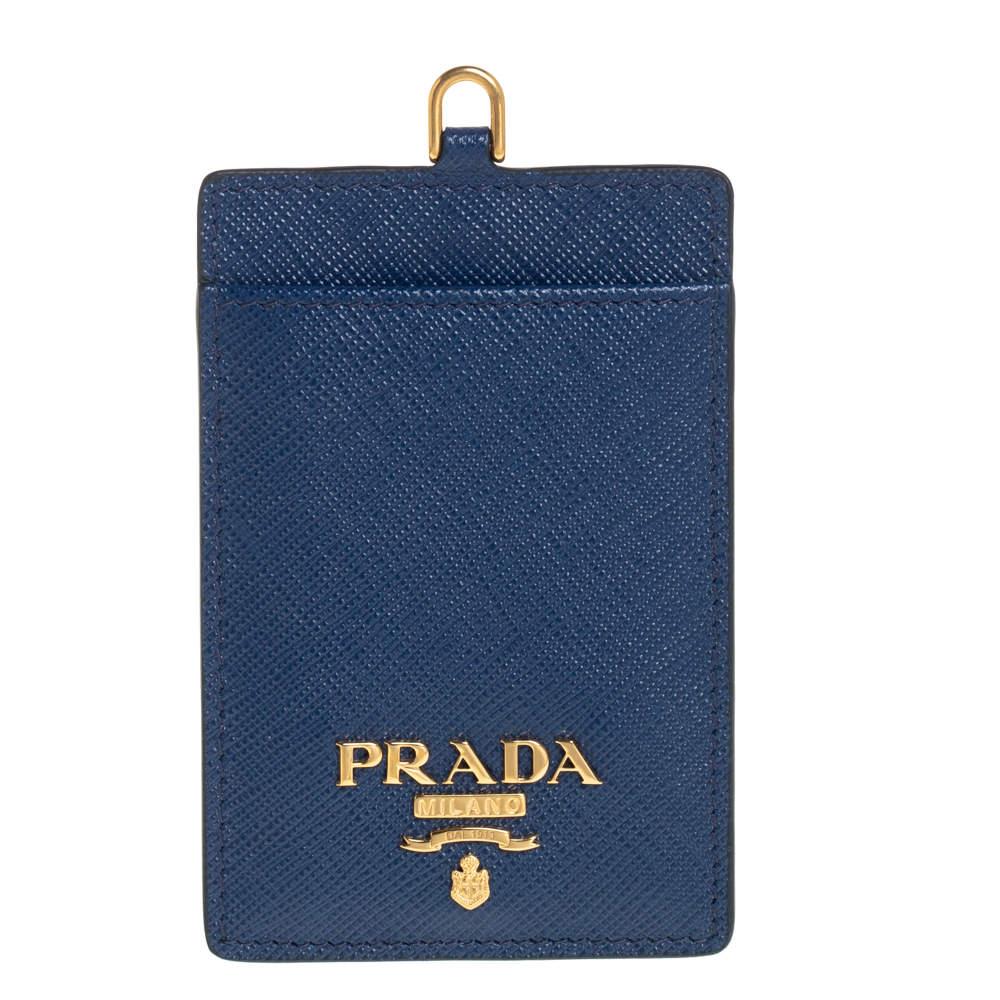 Prada Blue Saffiano Leather ID Badge Holder
