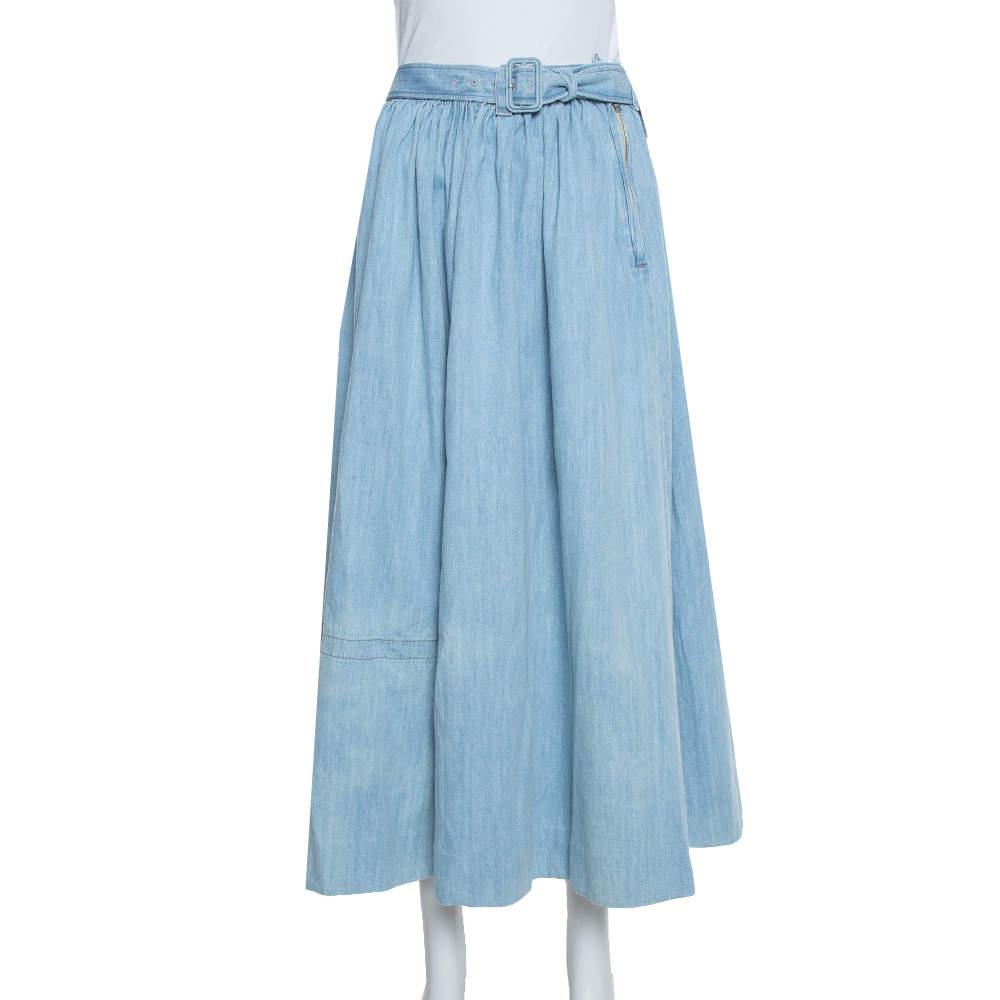 Prada Blue Denim Flared Belted Midi Skirt L