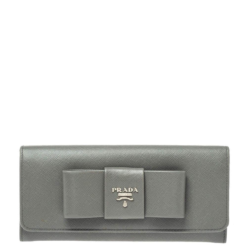 Prada Grey Saffiano Lux Leather Bow Continental Wallet