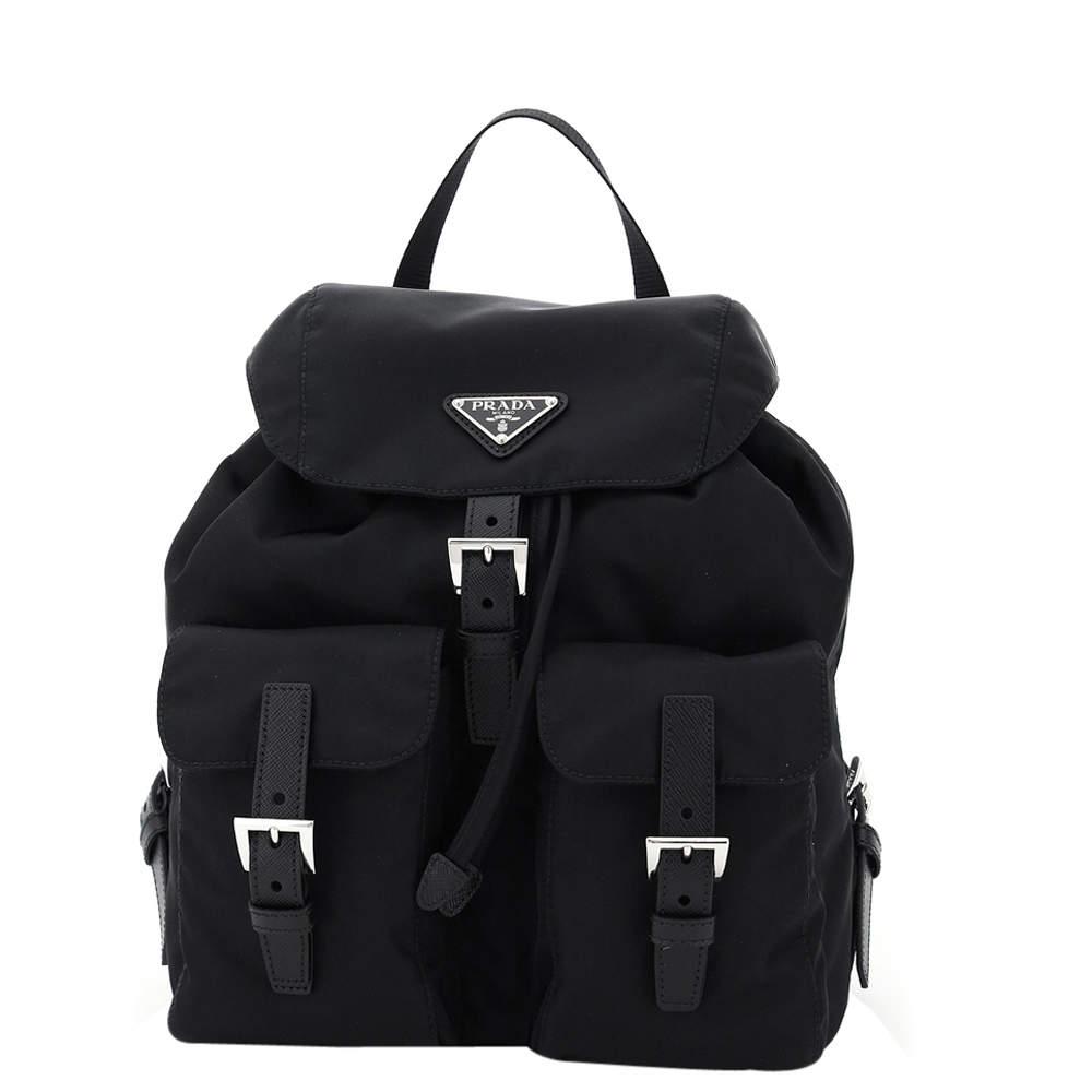 حقيبة ظهر برادا نايلون نابا سوداء