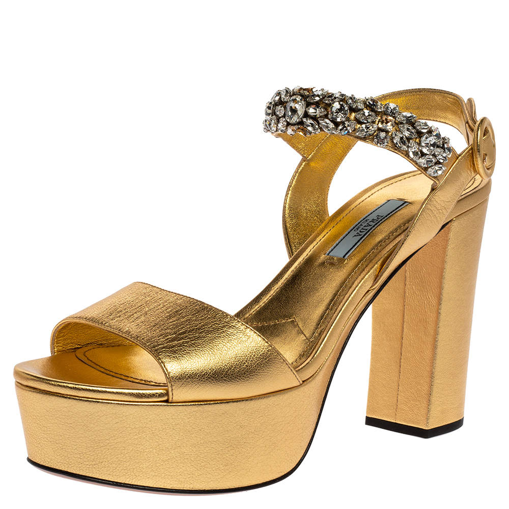 Prada Metallic Gold Leather Crystal Embellished Open Toe Ankle Strap Platform Sandals Size 40