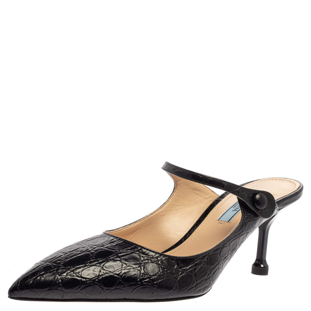 Prada Black Croc Embossed Leather Pointed Toe Mules Size 39