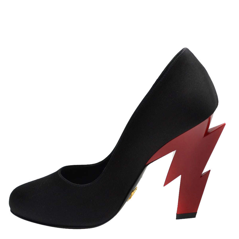 Prada Black Satin Lightning-bolt Heel Pumps Size EU 36