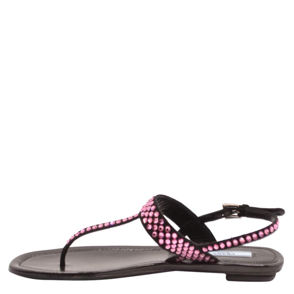 Prada Black Crystal embellished Slide Sandals Size EU 37