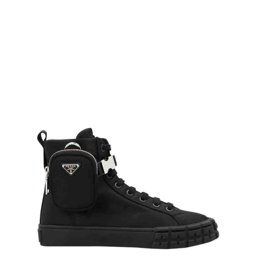Prada Black Re-Nylon Wheel High-Top Sneakers Size EU 38.5