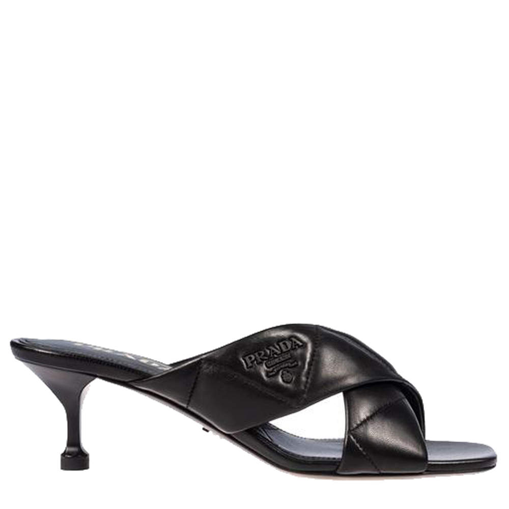 Prada Black Patent Leather Quilted Sandals Size EU 37