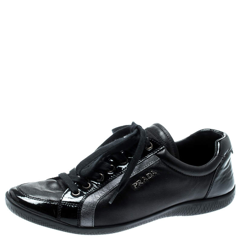 Prada Sport Black Leather Lace Up Sneakers Size 37