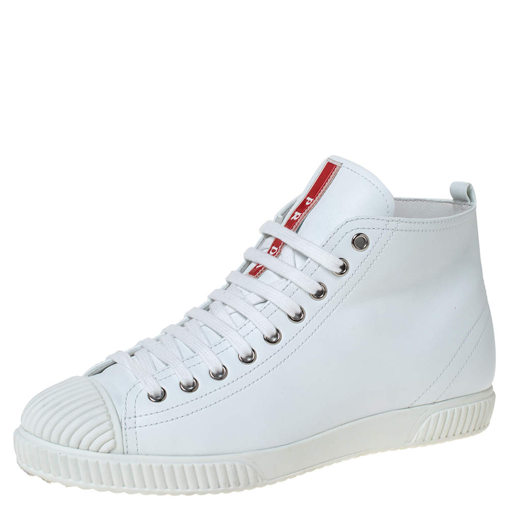 Prada Sport White Leather Lace Up High Top Sneakers Size 39.5