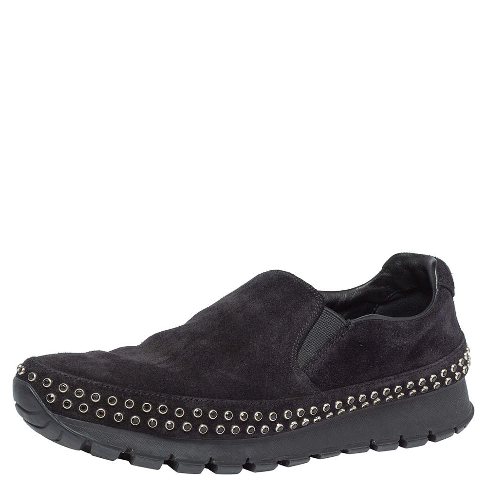 Prada Black Suede Leather Studded Sole Slip On Sneakers Size 39