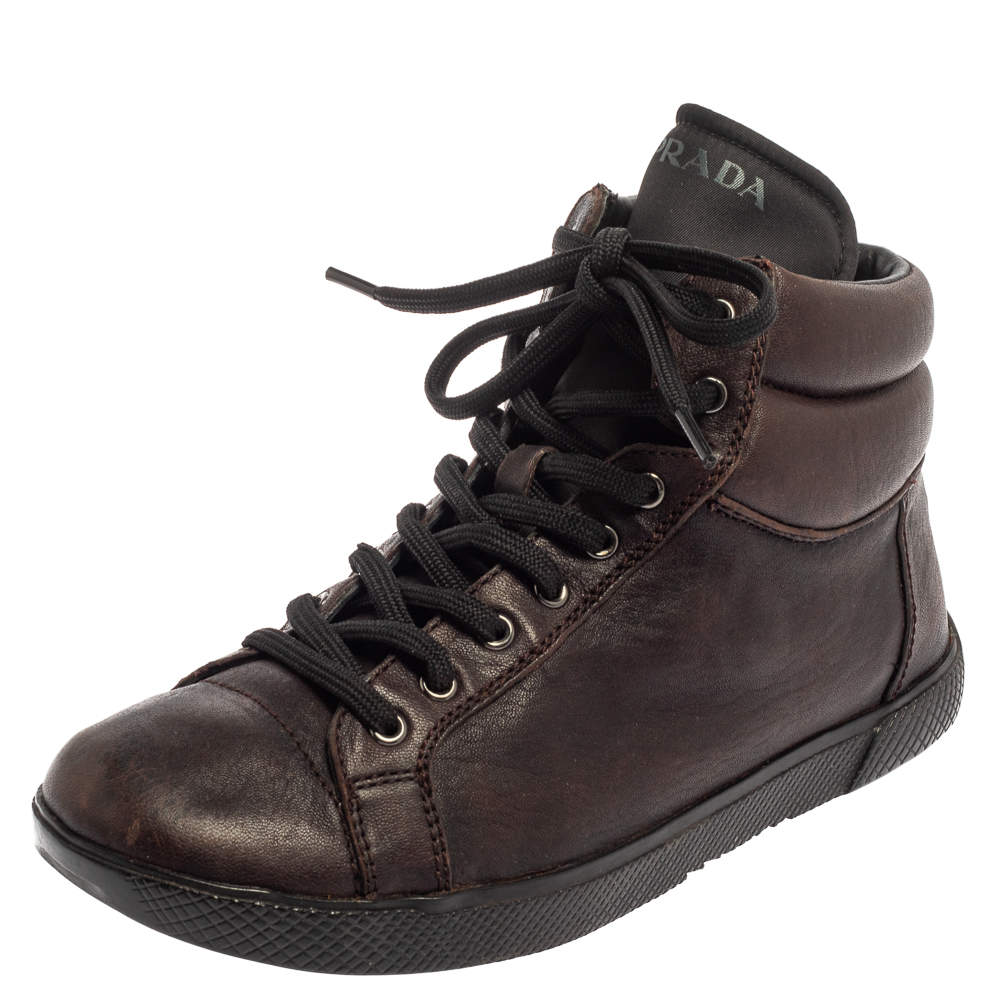 Prada Sport Brown Leather High Top Sneakers Size 35